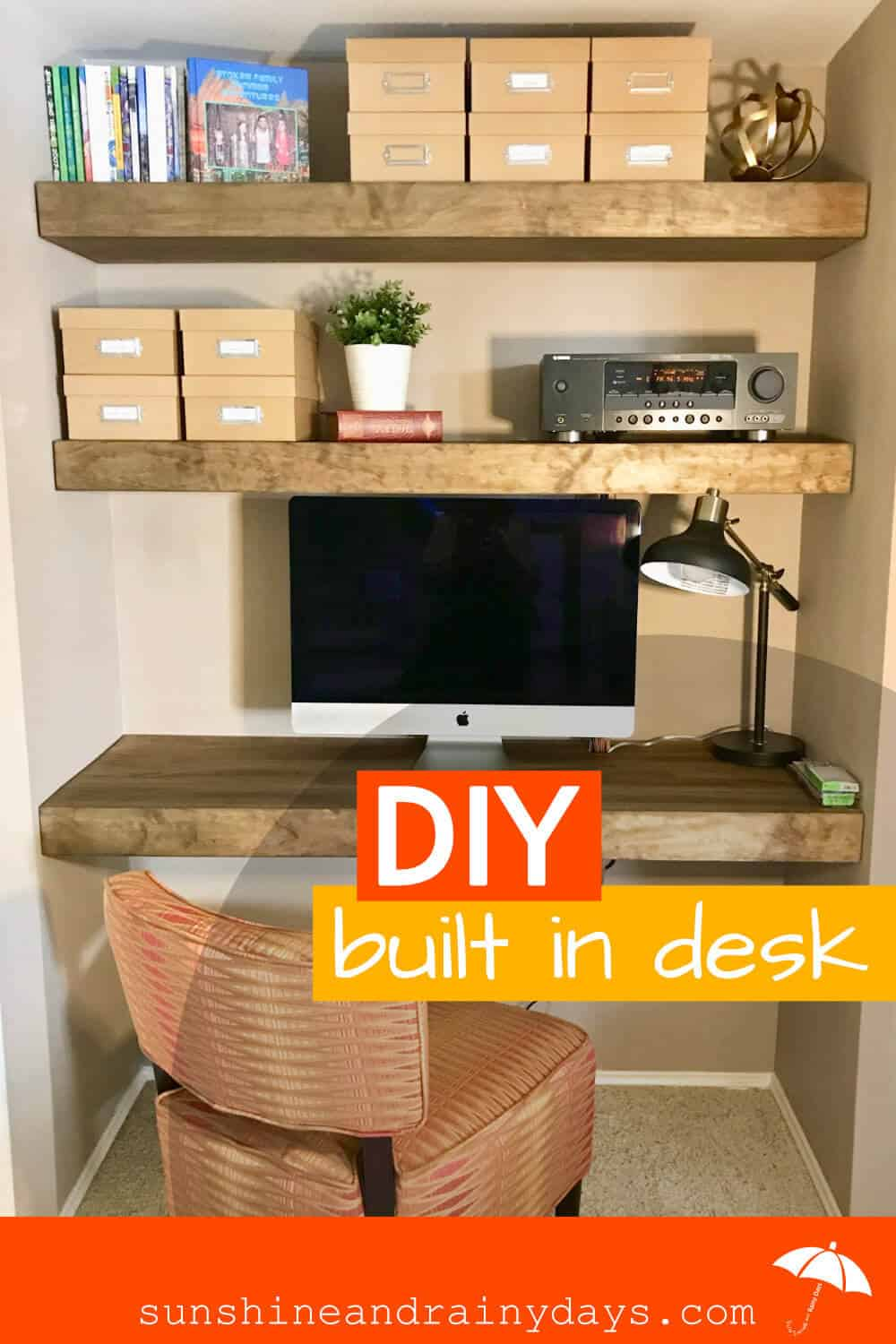 DIY Floating Built In Desk And Shelves - Sunshine And Rainy Days