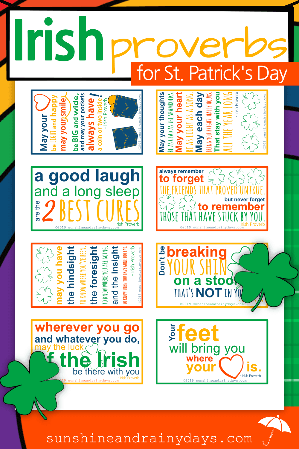 St. Patrick's Day is a day to celebrate all things Irish! This Irish Proverbs Printable will help you do just that! The Irish Proverbs PDF has eight, business card size, Irish Proverbs to tuck in your wallet and share with friends!