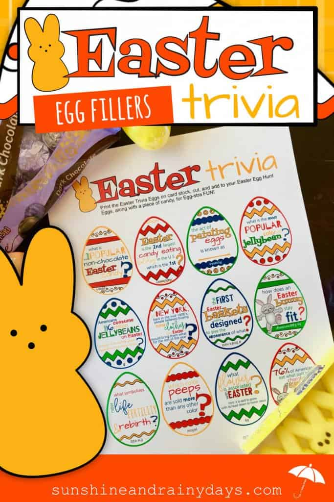 Easter will find yards full of Easter Eggs as kids, and the young at heart, search for eggs and the surprises inside! They'll find candy, little toys, and maybe even money inside! What if YOU added a new twist with Easter Trivia? No way am I proposing you skip the candy. Instead, ADD Easter Trivia to your eggs along WITH a piece of candy! Easter Egg Hunt | Easter Egg Fillers | Easter Trivia | Easter Printable | #EasterTrivia #EasterPrintables #EasterEggHunt #SunshineAndRainyDays