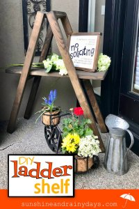 This DIY Ladder Shelf helps decorate the front porch!