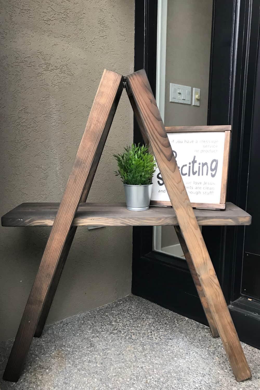 Front porch Ladder Shelf that needs decorations