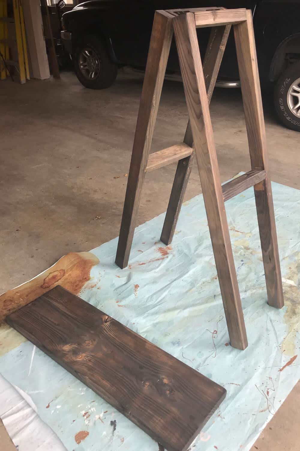 Ladder Shelf pieces stained
