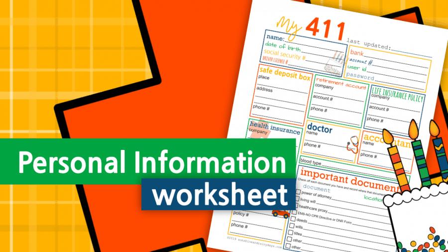 Personal Information Worksheet