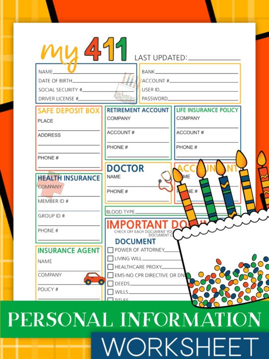 My 411 - Personal Information Worksheet