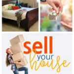 Girl carrying boxes with the words: Sell Your House