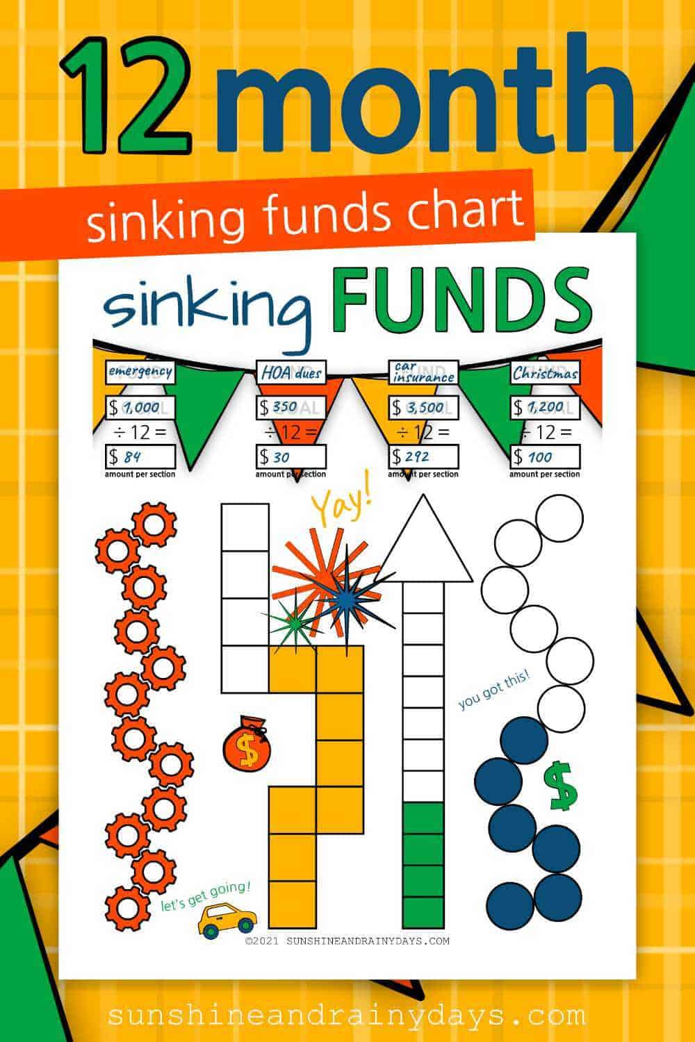 Printable 12 Month Sinking Funds Tracker