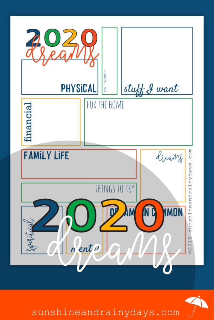 2020 Dream Sheet