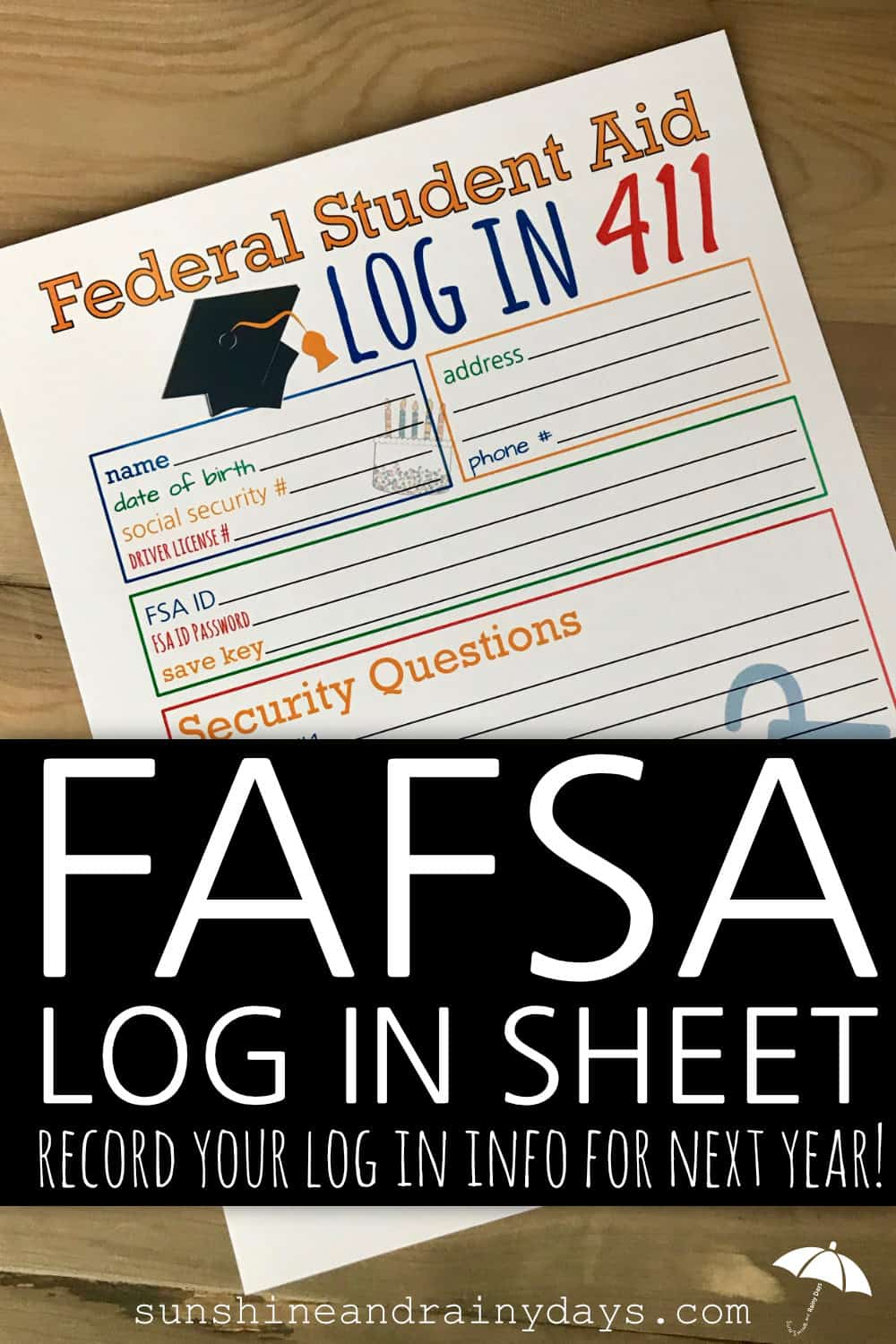 Federal Student Aid Login Sheet
