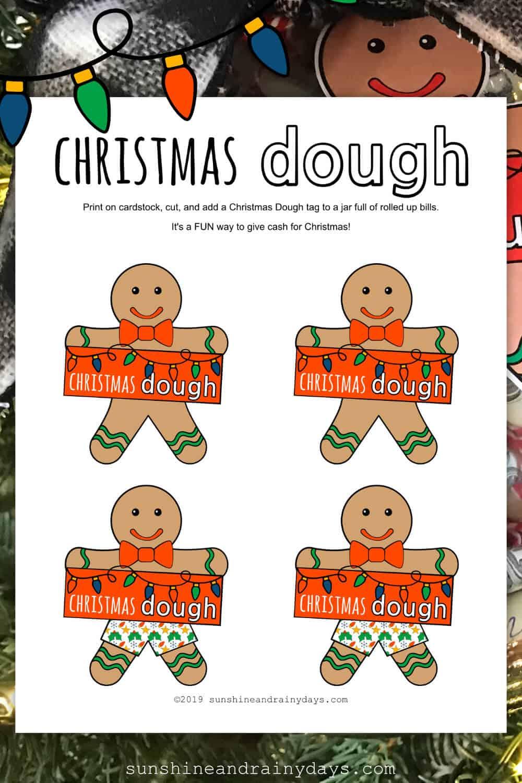 Christmas Dough Gingerbread Man Printable