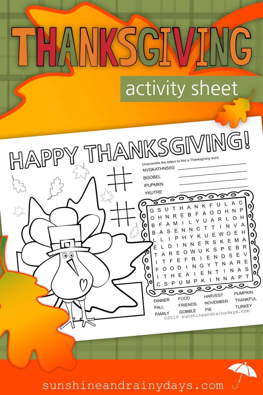 Thanksgiving Activity Sheet