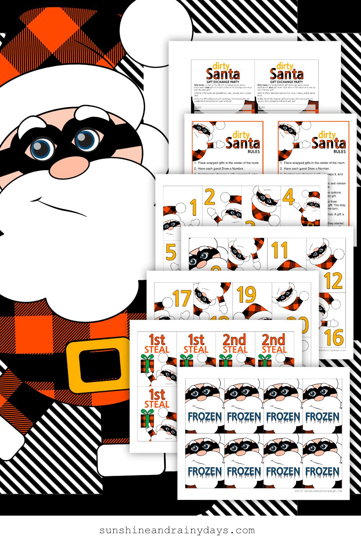 Dirty Santa Game Card Printables - Buffalo Plaid