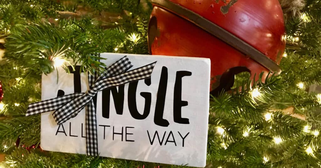 Jingle All The Way Rustic Farmhouse Wood Sign With Vinyl Lettering