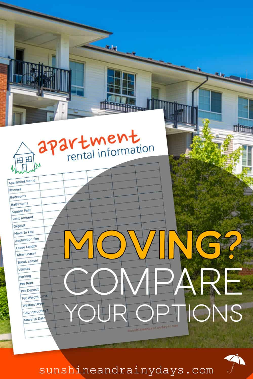 Apartment Hunting Comparison Chart