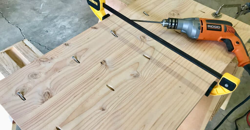 Fastening table top boards with pocket hole screws.