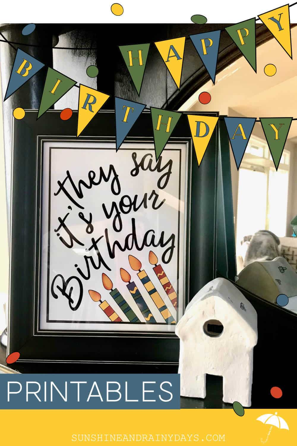 Birthday Sign Framed On Mantel