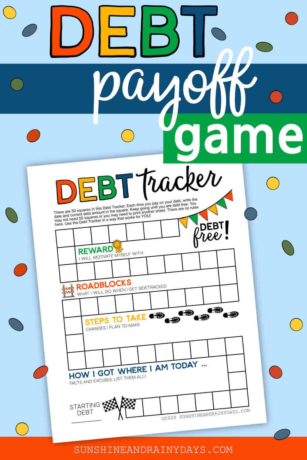 Debt Payoff Printable with the words: Debt Payoff Game