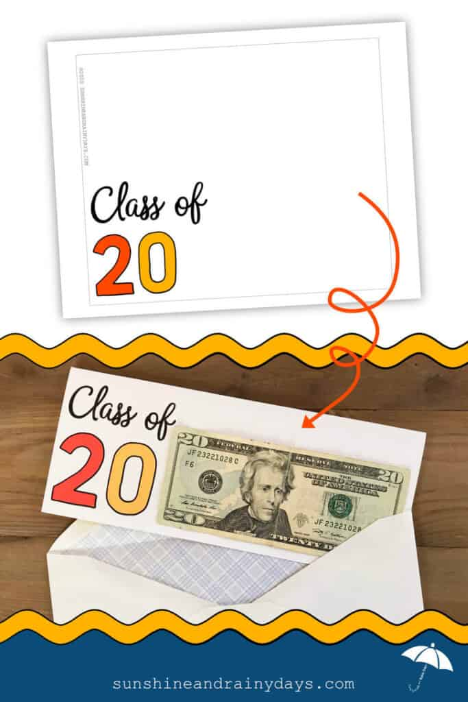 Printable Graduation Card with $20 bill attached for Class of 2020!