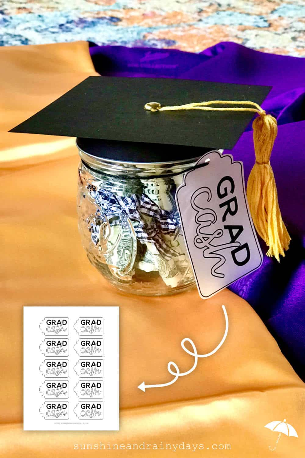 Grad Cash Tag Printable For Grad Cash Money Jar
