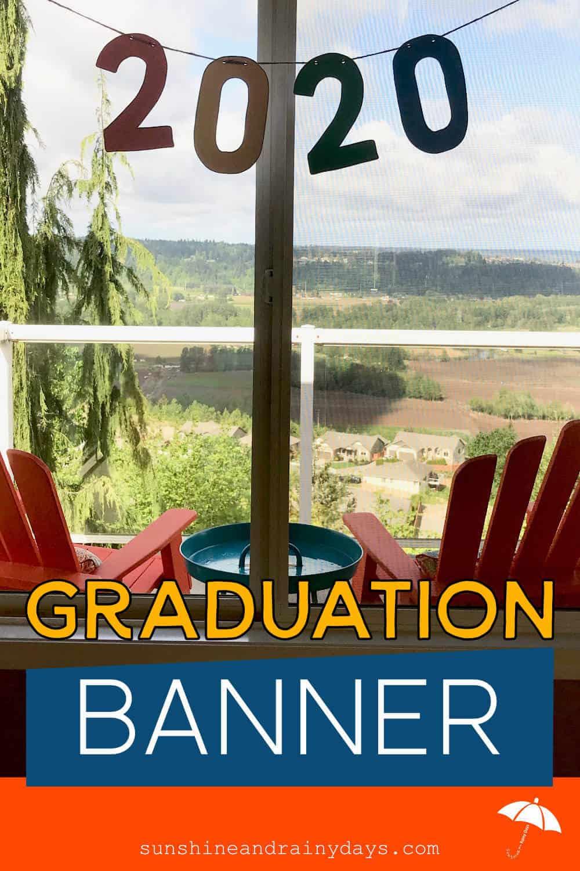 2020 Graduation Banner hung on a window