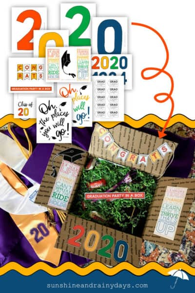 Graduation Printables used to decorate a Graduation Box full of Graduation Gifts and Party Supplies