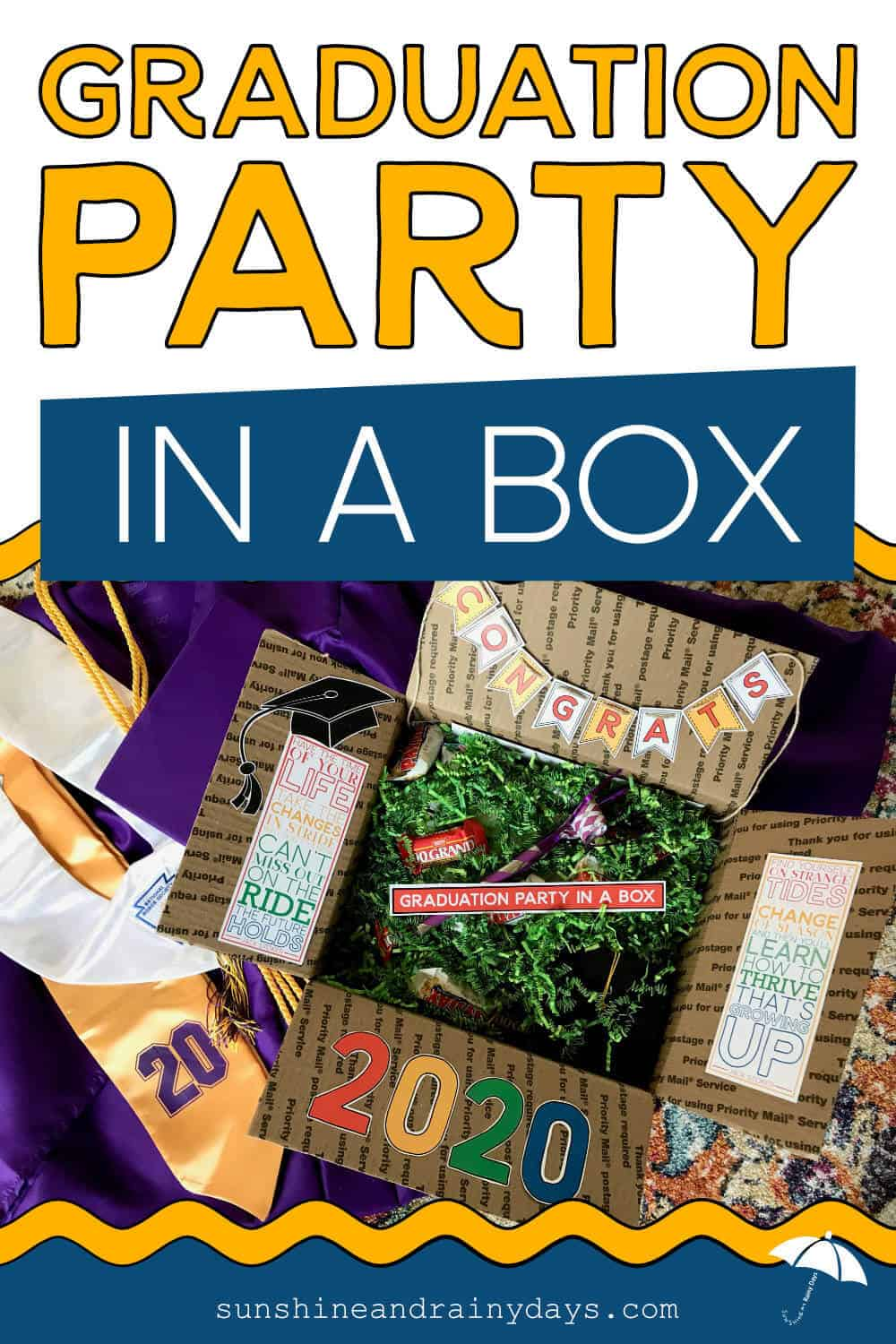 Graduation Party In A Box with a box full of Graduation Gifts and Party Supplies