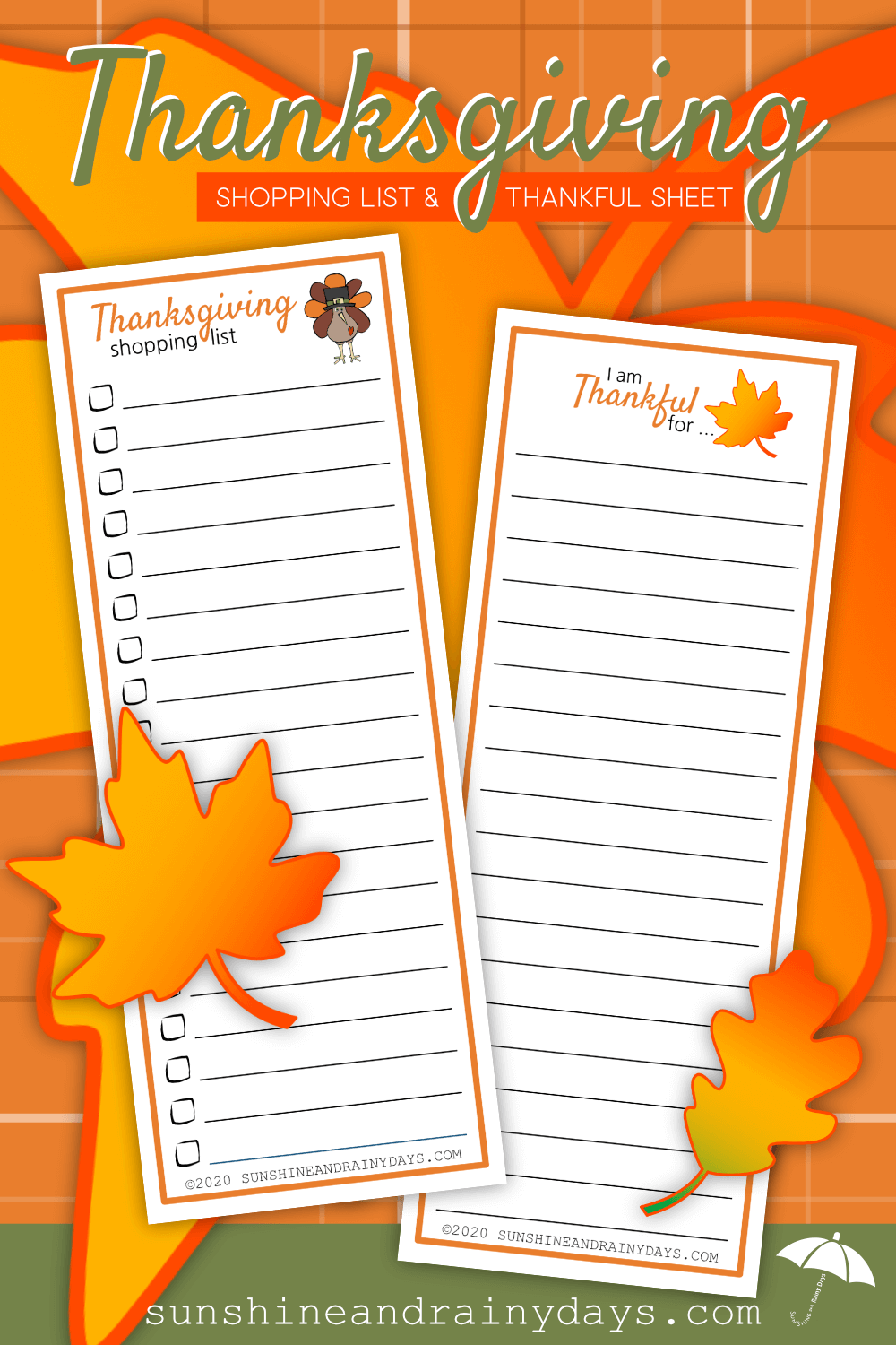 Thanksgiving Shopping List And Thankful Sheet Printable