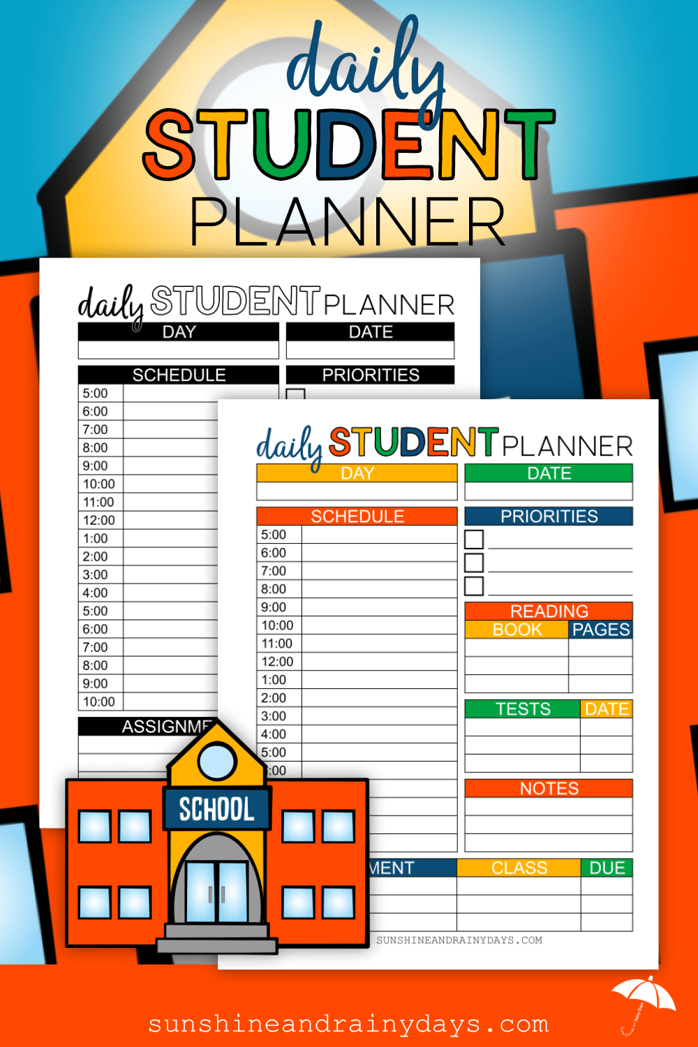Daily Student Planner in color or black & white