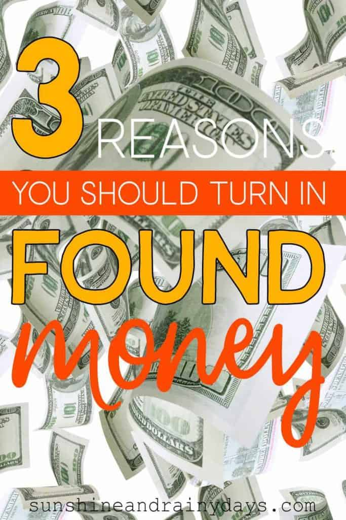 Money Falling with the words: 3 Reasons You Should Turn In Found Money