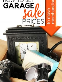 Box full of garage sale items with the words: How To Set Garage Sale Prices