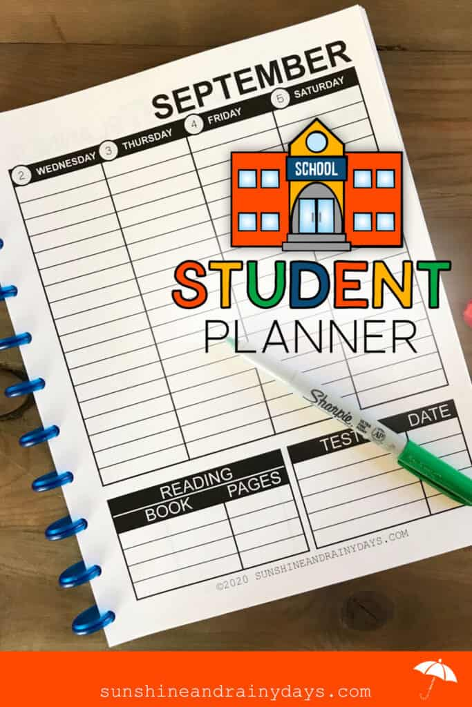 Printable Student Planner using the discbound system.