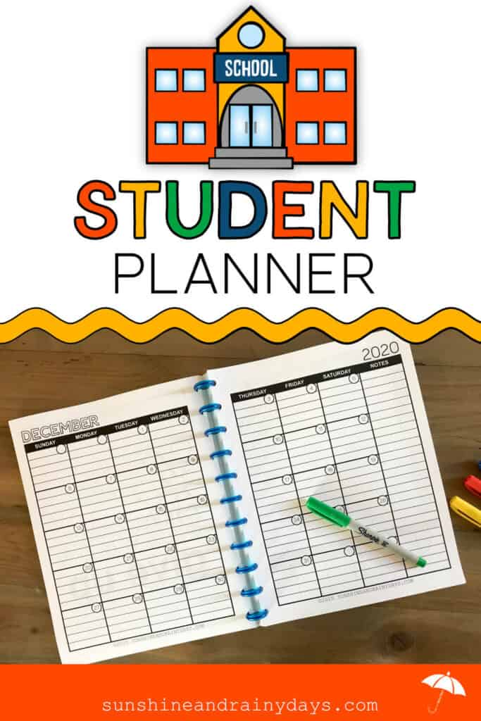 Student Planner - Month of December