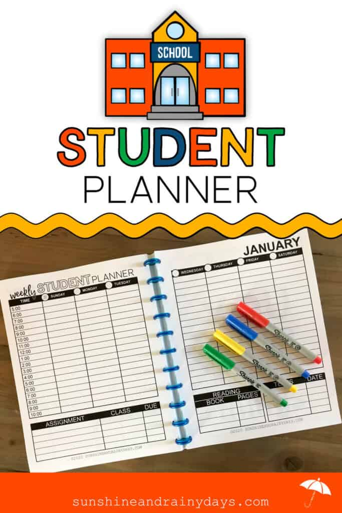 Printable Student Planner using the discbound system
