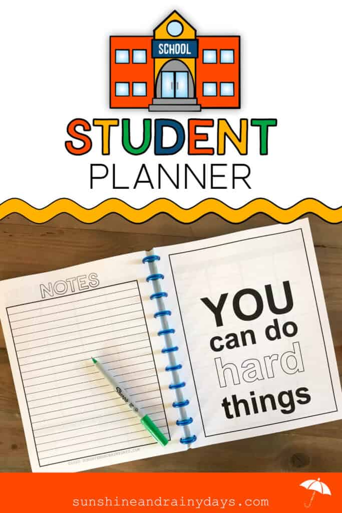 Printable Student Planner with pages for Notes and Quotes
