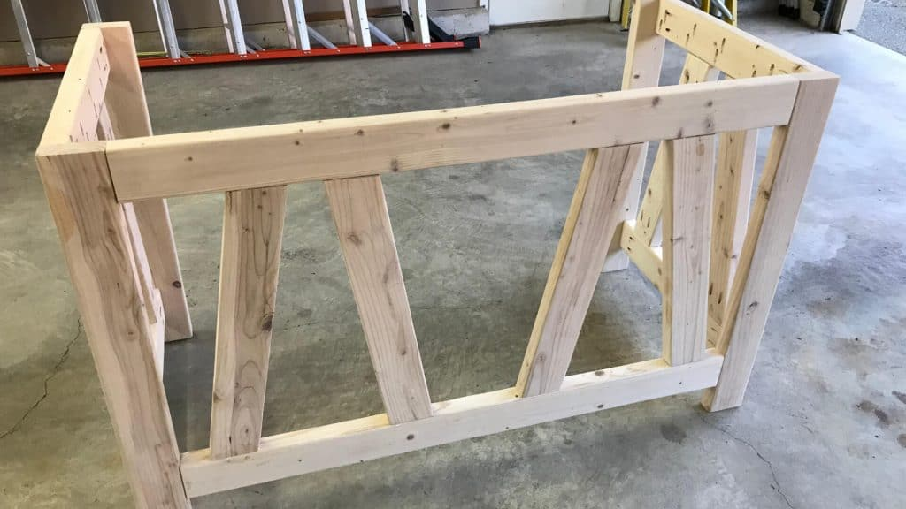 Desk Legs Attached With Stretchers and Diagonal Pieces