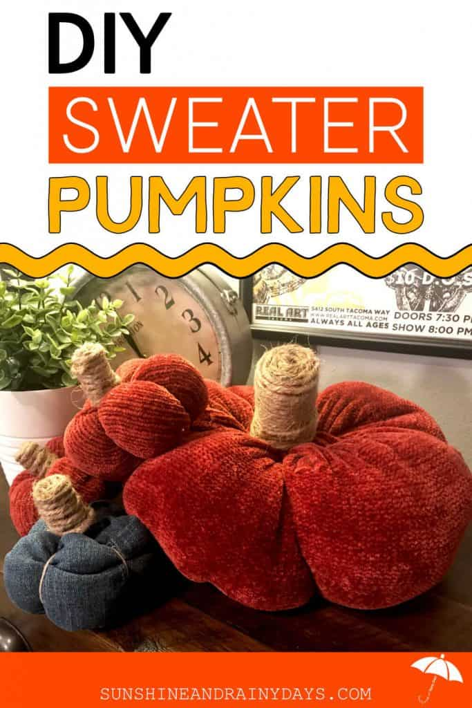 Sweater Pumpkins made from an old sweater