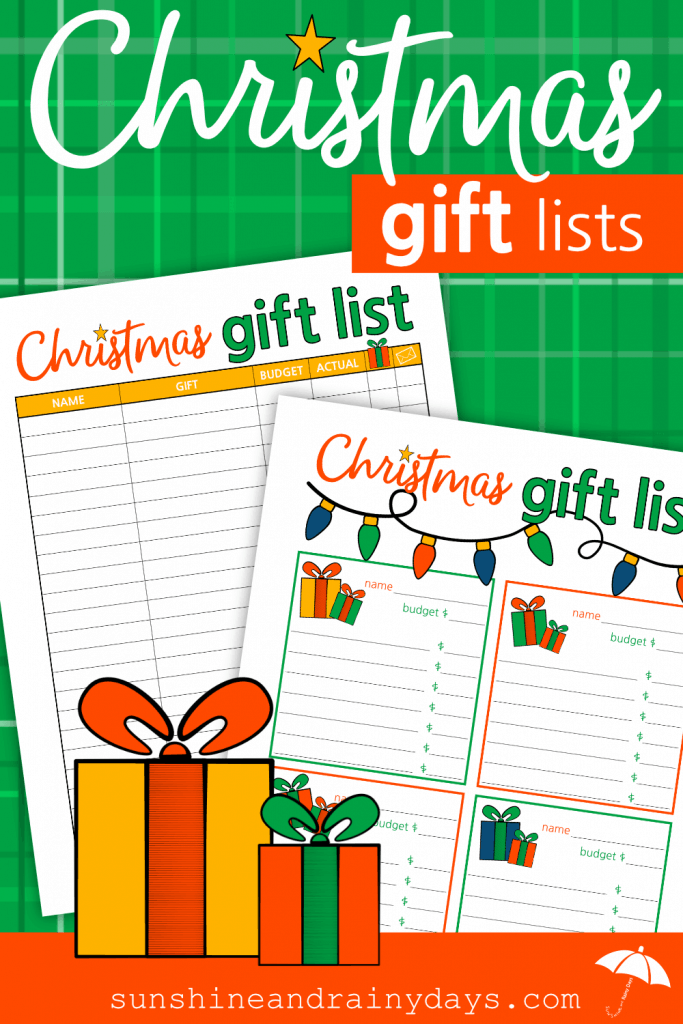 Christmas Gift List Printables