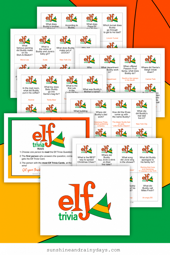 Elf Trivia Game Printables