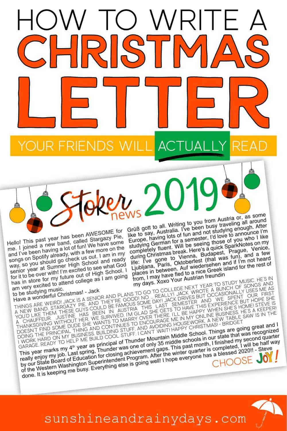 How To Write A Christmas Letter with a Christmas Newsletter sample.