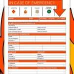 In Case Of Emergency Information Sheet
