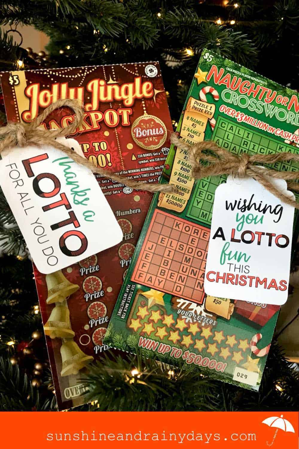 Christmas Lottery Ticket Gift Tags on Christmas Scratch Tickets