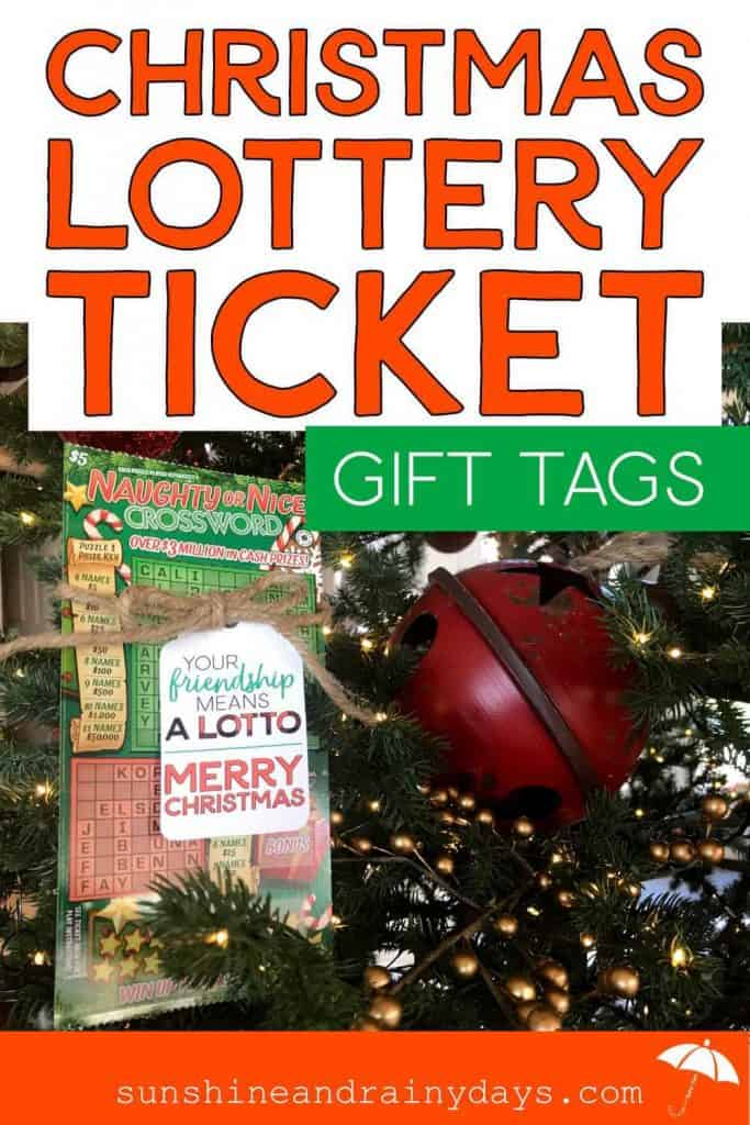 Christmas Gift Tag On A Christmas Lottery Scratch Ticket