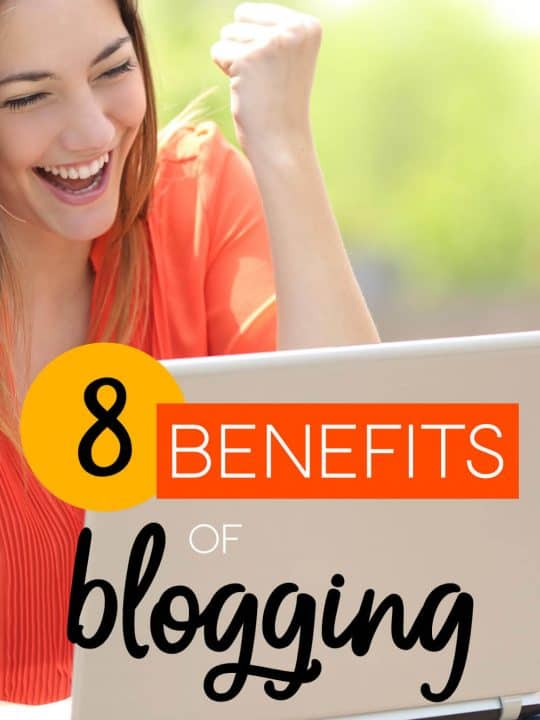 Excited girl on laptop with the words: 8 Benefits Of Blogging
