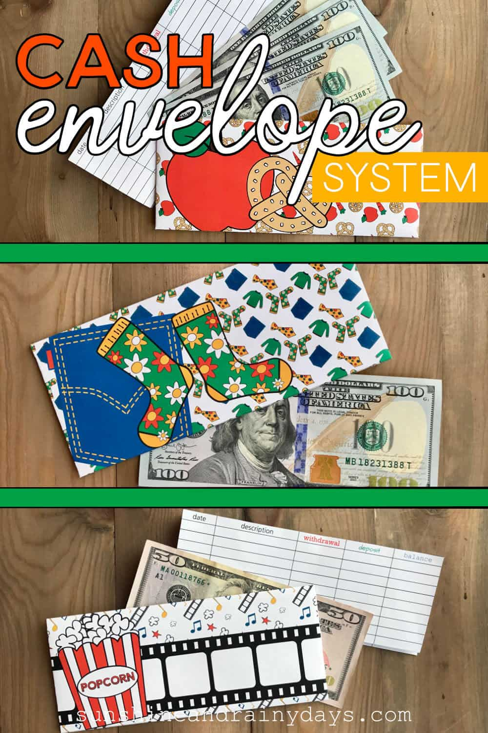 Cash Envelopes with cash and register and the words: Cash Envelope System