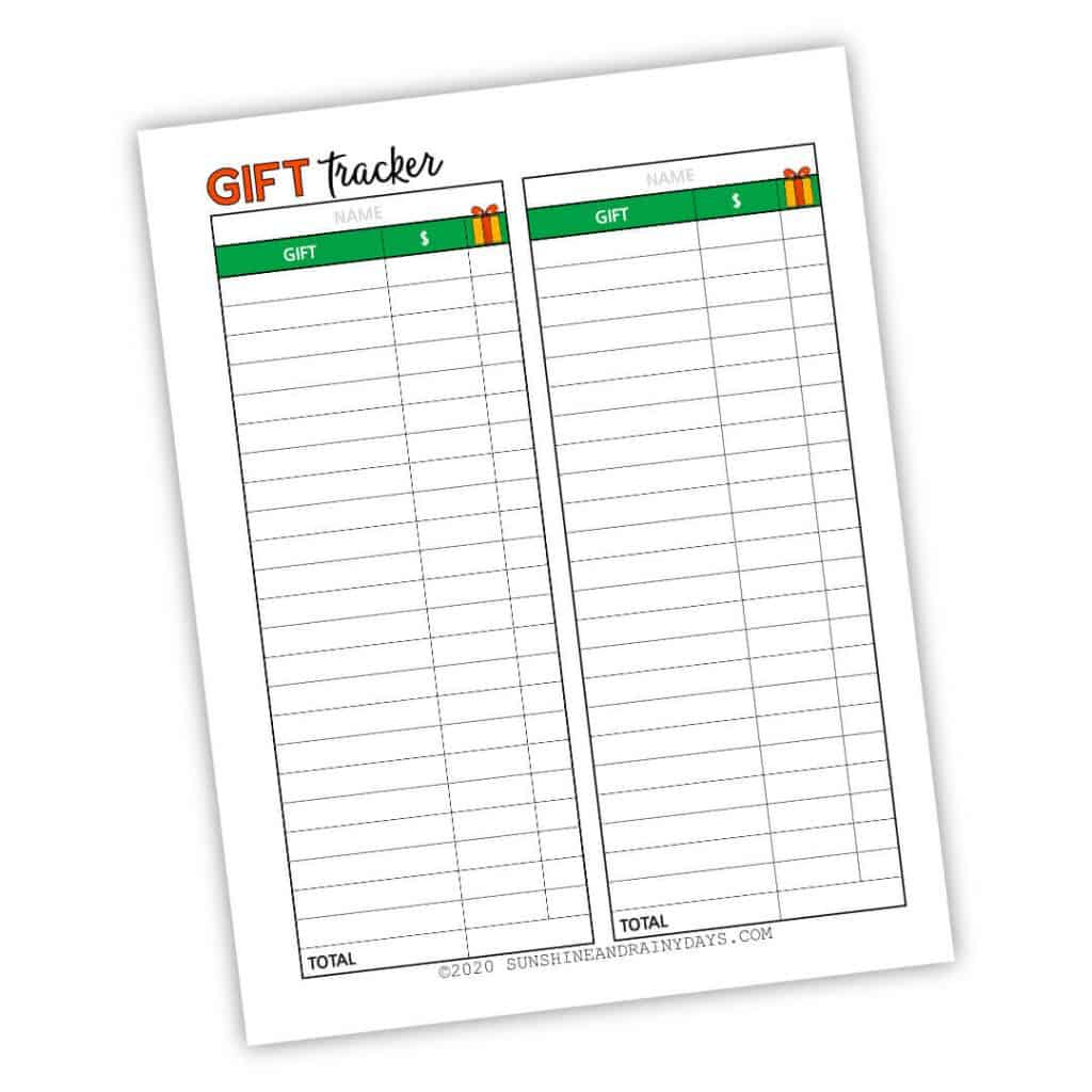 Christmas Gift Tracker Printable