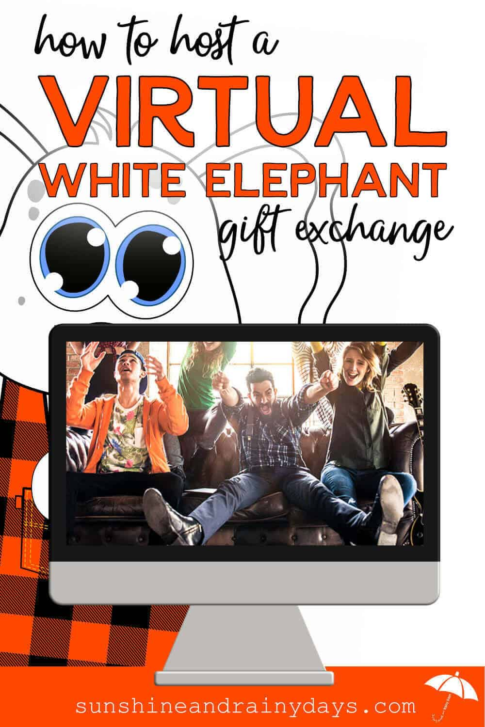 People having fun on a computer screen with the words: How To Do A Virtual White Elephant Gift Exchange