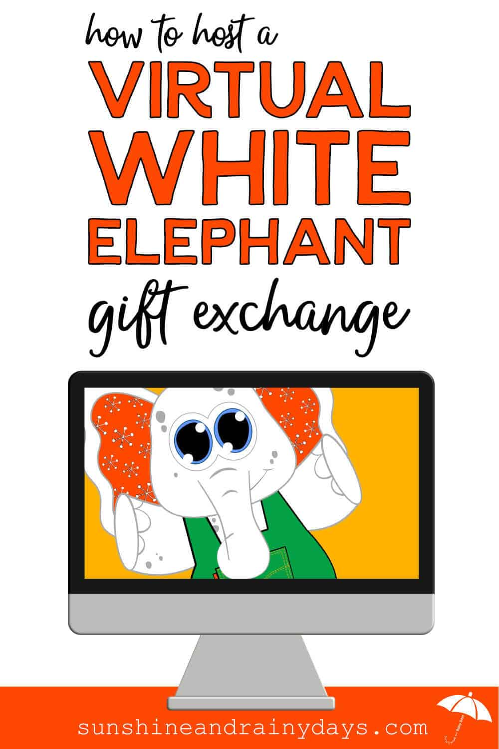 White Elephant in a computer screen with the words: How To Do A Virtual White Elephant Gift Exchange