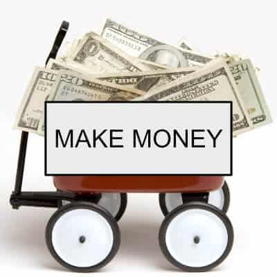 Wagon full of money with words: Make Money