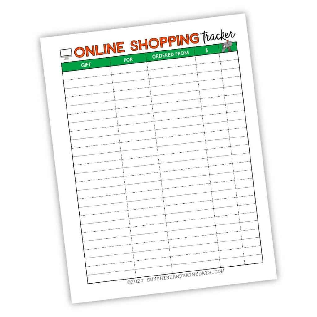 Online Shopping Tracker Printable