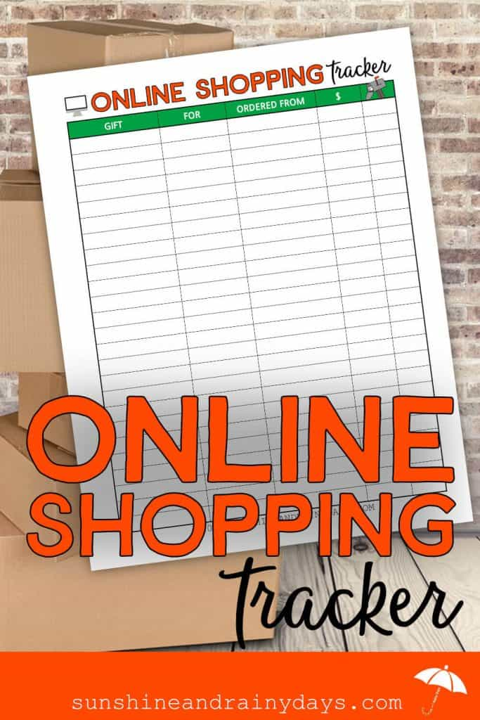 Online Shopping Tracker Printable with packages