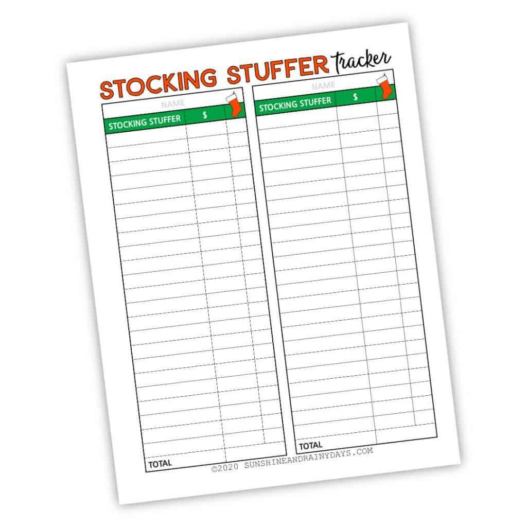 Stocking Stuffer Tracker Printable